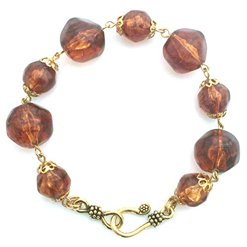 (Tortoise Shell Lightweight Acrylic Resin Nugget Bead and Gold Plated Link Bracelet | Trendy Retro Leopard Animal Print Handmade Fashion Jewelry for Women)