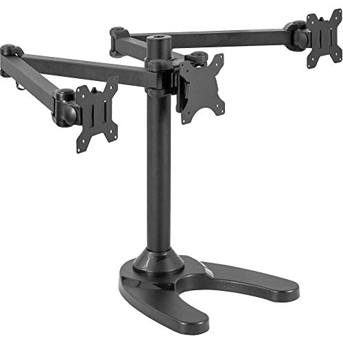 VIVO Triple LED LCD Computer Monitor Free Standing Desk Mount with Base | Heavy Duty Fully Adjustable Stand for 3 Screens up to 32 inches ()