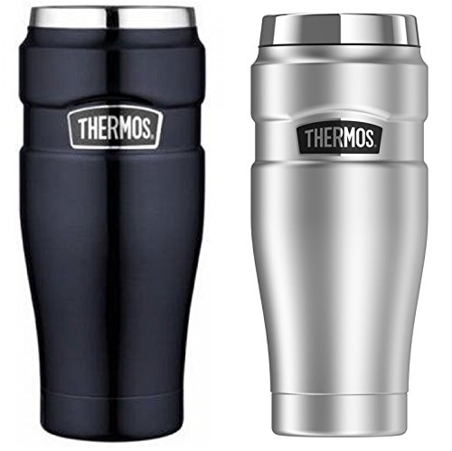 Thermos Stainless King 16-Ounce Travel Tumbler 2-PACK (Silver/Midnight Blue) by Thermos