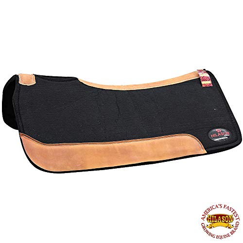 (HILASON Western Wool Felt Gel Saddle PAD W/Leather Border - Black)