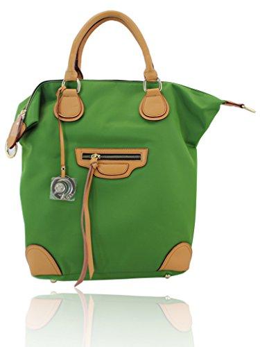 Meqiero Cow Canvas Tote Bags - Designer Inspired Satchel Handbags / Shoulder Bag Green (Inspired Canvas Handbag Designer)