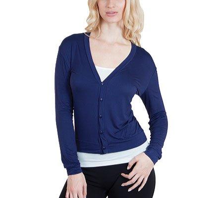 Agiato Women's Button Front Short Cardigan azul marino