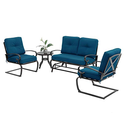 Incbruce 4Pcs Outdoor Patio Furniture Conversation Sets (Loveseat, Bistro Table, 2 Spring Chair) -Swing Glider Rocking Patio Bench and Spring Metal Lounge Chairs Sets with Peacock Blue Cushions (Cheap Sets Garden Patio)