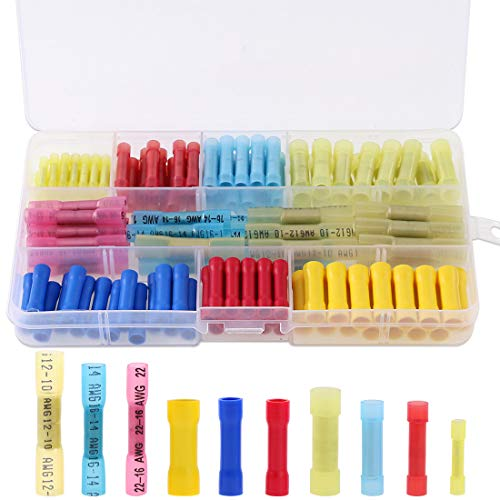 - Hilitchi 135Pcs Waterproof Nylon Heat Shrink Butt Insulated Terminals Quick Splice Electrical Wire Crimp Connectors Kit