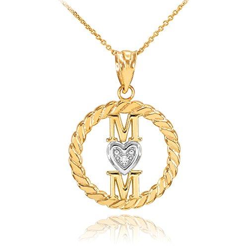 Collier Femme Pendentif 10 Ct Or Jaune Côtelé Cercle Mom Amour Cœur avec Diamant (Livré avec une 45cm Chaîne)
