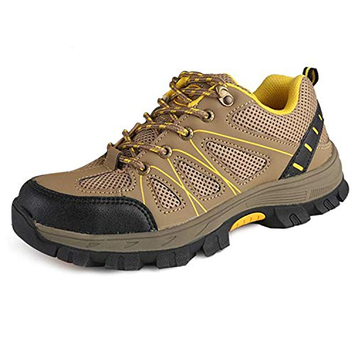 SUADEX Steel Toe Shoes Men Women, Indestructible Work Shoes Breathable Industrial Construction Non Slip Puncture Proof Composite Safety Toe Shoes 823-Khaki Size 8-8.5 Women/6.5-7 Men (Womans Anti Slip Work Shoe)