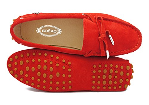 Meijili Women's Suede Leather Loafer Flats Driving Moccasin Work Casual Peas Shoes Watermelon Red ukwI8uZrM