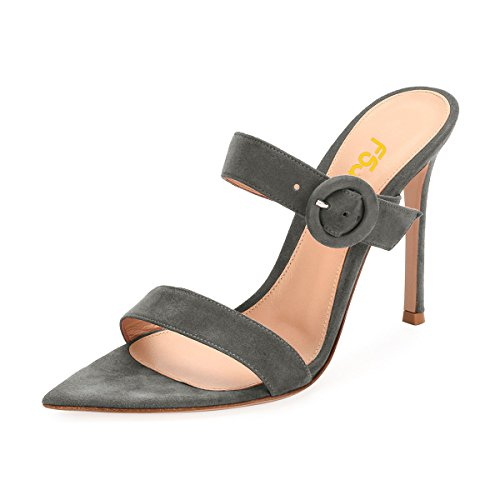 sneakernews cheap price for sale FSJ Women Fashion Slip on Mules Faux Suede High Heels Sandals Open Toe Stilettos Shoes Size 4-15 US Grey buy cheap find great cheap new 1uiDuh4Aa