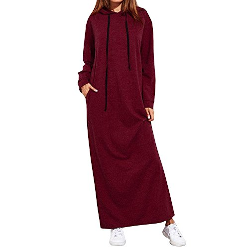 , ღ Hot Sale ღ ! Maxi Dress Long Sleeve Hooded Ladies Casual Hoodies Long Dresses T-Shirt Skirt Blouse Tops (L, Red) ()