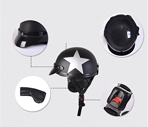 FREESOO Helmet with Goggles for Motorcycle Biker Cruiser Scooter Touring Helmet