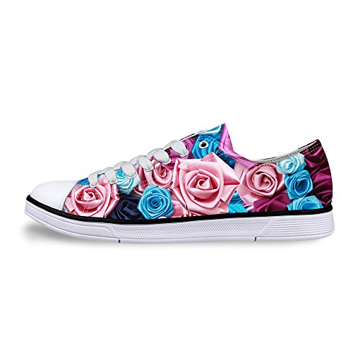 FOR U DESIGNS Stylish Womens Casual Lace-up Low Top Comfort Canvas Fashion Sneaker Purple Rose 1