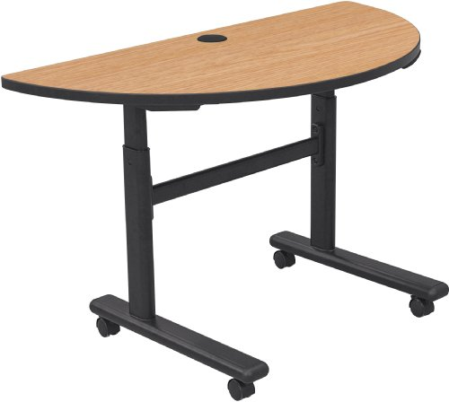Balt Adjustable Height Flipper Table 1/2 Rnd, Castle Oak Top (90178-7928-BK)