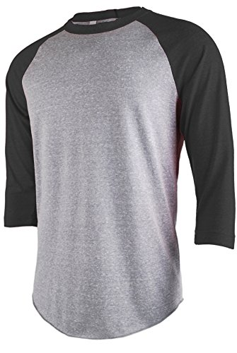 TL Men's Basic 3/4 Sleeve Baseball Top Fitted Tri-blend Raglan T-Shirt LTGREY_BLACK 2XL 3/4 Sleeve Athletic T-shirt