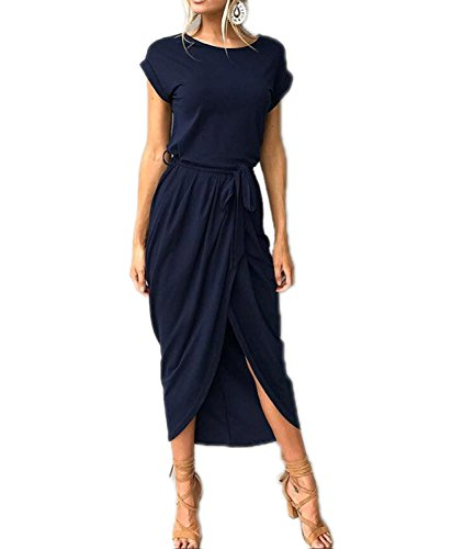Mansy Womens Casual Cuffed Short Sleeves Belted Long T Shirt Warp Maxi Dress Dark Blue