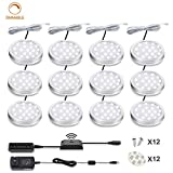 LED Cabinet Puck Lights Dimmable - Moobibear 2W 2400lm Hand Wave Activated 5000K Daylight White Under Cabinet Lighting Kit, 12 Pack Under Counter Lighting for Kitchen Closet