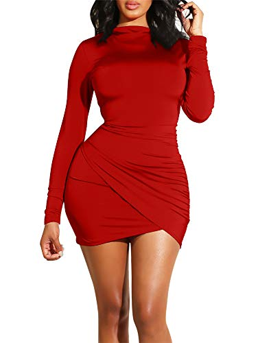 GOBLES Women's Long Sleeve Elegant Sexy Bodycon Ruched Mini Cocktail Dress Red (Sleeve Dress Red Long Mini)