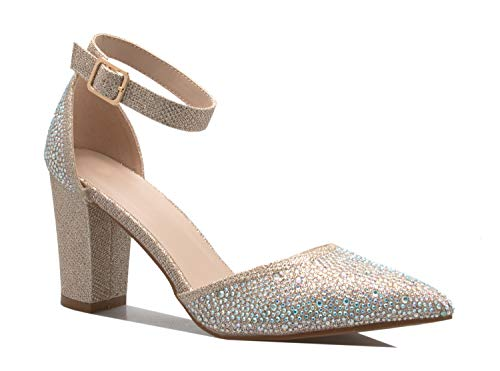 OLIVIA K Women's Sexy D'Orsay Ankle Strap Pointed Toe Block Heel Pump - Classic, Comfortable Champagne Glitter