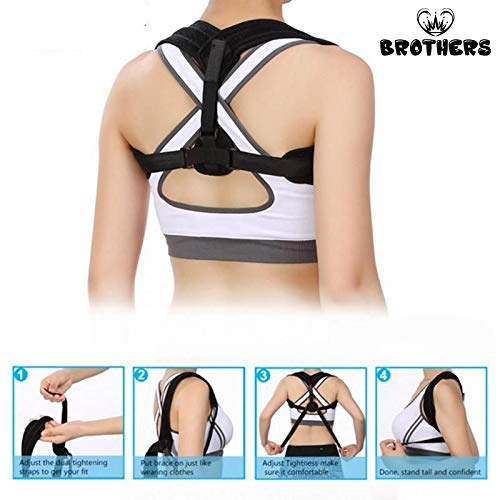 Posture Corrector for Women & Men, Orthopedic Back Support,Fully Adjustable, Breathable and Comfortable Support Brace,Upper Back & Neck Pain Relief by Brothers (Image #8)