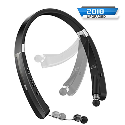 Upgraded Foldable Bluetooth Headphones Wireless Neckband Headset - Sweatproof Earphones with Mic, Retractable Earbuds, Foldable Design, Bluetooth 4.1, 18 Hours Playtime for ()