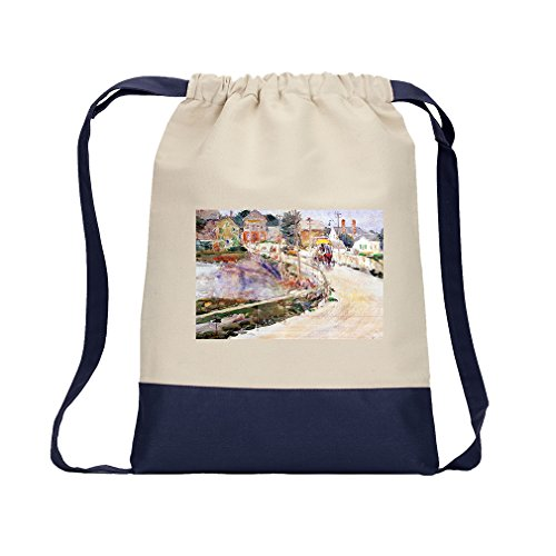 In Gloucester (Hassam) Canvas Backpack Color Drawstring Bag - - Gloucester Stores In