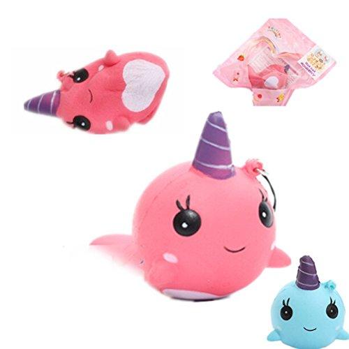 Squishy Slow Rising Fidget Whale Jumbo Squishies Cartoon Squishies Prime Toy,BESTTY 9CM Phone Straps Ballchains FiSaingace Decompression Toys(Pink)