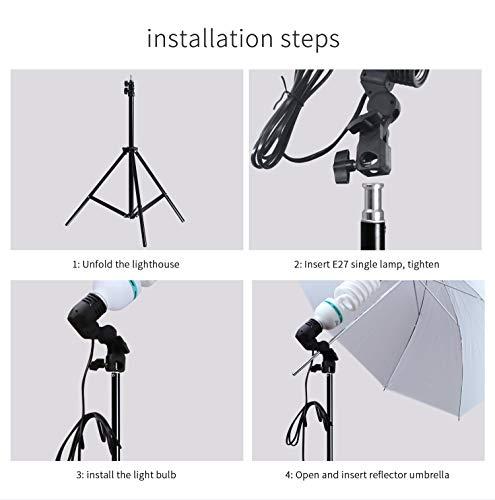Photo Studio Double Off Camera Speedlight Flash Umbrella Kit, Photography Tripod Brackets for Photography Photo Video Studio Lighting Flash Translucent White Soft Umbrella by YC° (Image #3)
