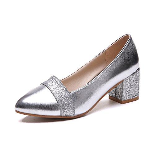 Chaussures Quatre avec Unie Saisons Attractive épaisse Silver des la Femmes 35 Couleur pour The Pointe 4qHrw4