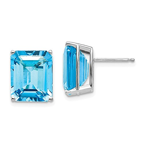 Mia Diamonds 14k White Gold 12x10mm Emerald Cut Blue Topaz Earrings