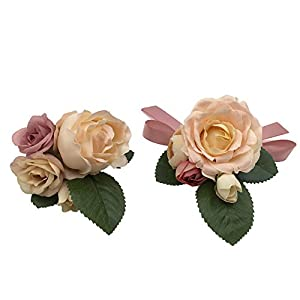 Abbie Home Prom Wrist Corsage Brooch Boutonniere Set Wedding Event Party Wristband Hand Flower Décor-Champagne&Pink 65