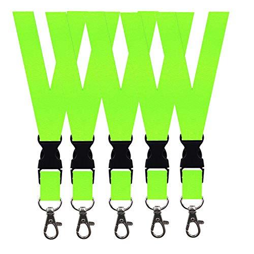5 Pack Neck Safety Lanyards Detachable Buckle Enhanced Model Hook Breakaway Strap Quick Release Lanyard for ID Badge Holders,Key,Women Men Cell Phones USB Whistles - Fluorescent Green