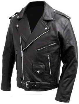stile Marlon Brando Giacca chiodo da motociclista in vera pelle bovina Nero, M BIESSE