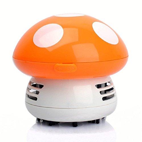 Aimeio Mini Portable Mushroom Style Desk Table Keyboard Furniture Cushion Corner Vacuum Cleaner Dust Collector Sweeper (Orange Mushroom)