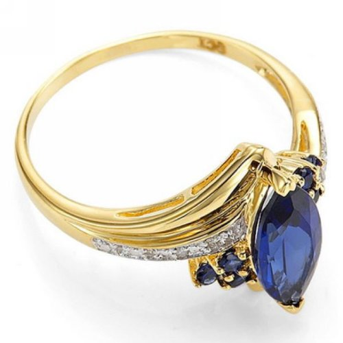 CAFA Size 6,7,8,9,10 Jewelry Woman's Blue Sapphire 10KT Yellow Gold Filled Ring Blue 8