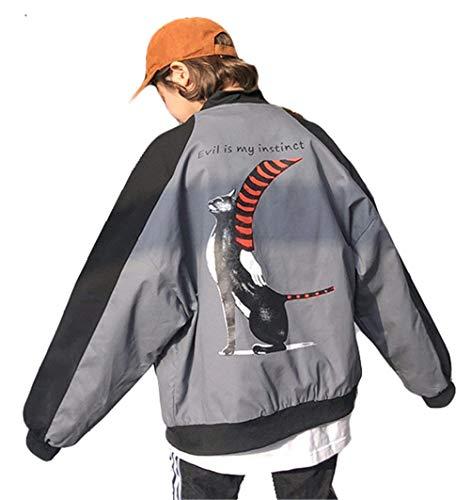 Ragazze Manica Grau Giacche College Giacca Colori Fashion Relaxed Bomber Pilot Style Lunga Cappotto Autunno Misti Zip Festa Donna Casual rXOqHwXU