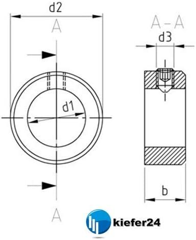 Stellringe DIN 705 A2 mit Gewindestift DIN 914 Kiefer24 1, Innen-/Ø = 13 mm V2A Stellring Edelstahl A2