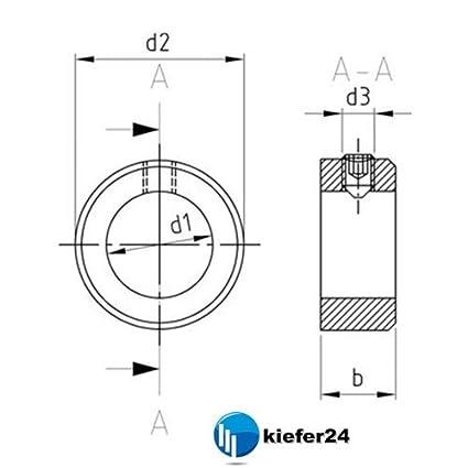 Stellringe DIN 705 A2 mit Gewindestift DIN 914 Kiefer24 V2A Stellring 1, Innen-/Ø = 35 mm Edelstahl A2
