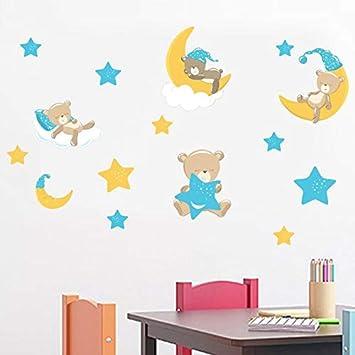 Netter Bar Und Mond Sterne Wandaufkleber Lustige Cartoon Tier