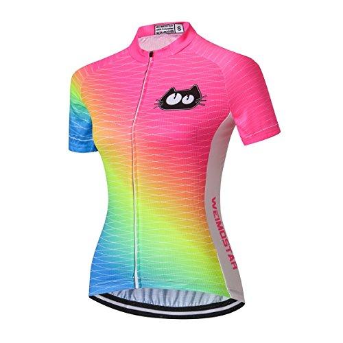Women Cycling Jersey Shirt Team Bike Clothing Summer cat Flu