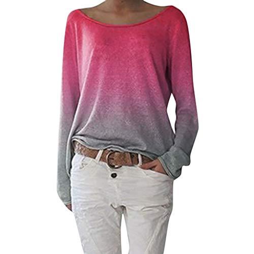 NEARTIME Women Crewneck Colorblock Tie Dye Shirts Long Sleeve Pullover Sweatshirt Tops (7 Color, S-4XL) Hot - Colour 78