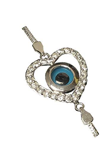 (Sterling Silver Greek Bracelet - Heart w/Mati Eye & Swarovski)
