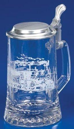 Railroad Train German Glass Beer Stein