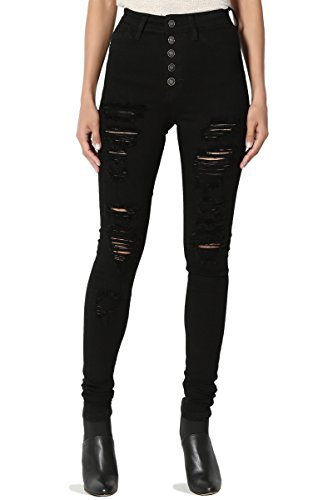 TheMogan Women's Button Up High Waist Distressed Stretch Skinny Jeans Black 5