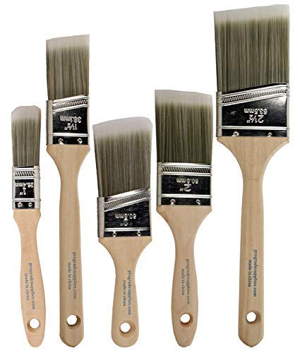 Pro Grade - Paint Brushes - 5 Ea - Paint Brush Set (Best Roller For Exterior Painting)