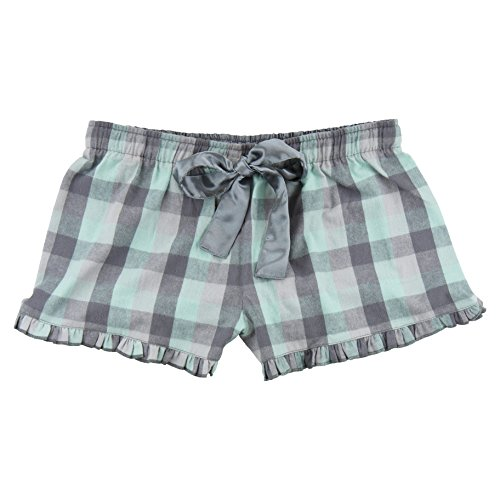 Mint and Grey Check Novelty Print Flannel VIP Shorts Youth Sizes, (Flannel Kids Shorts)
