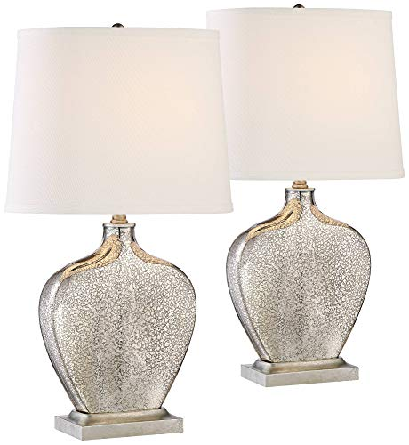 Axel Modern Table Lamps Set of 2 Mercury Glass Gourd White Fabric Shade for Living Room Family Bedroom Bedside Office - 360 Lighting