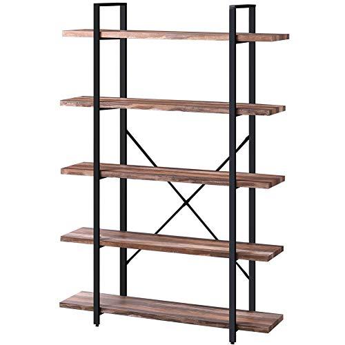 SUPERJARE 5-Shelf Industrial Bookshelf, Open Etagere Bookcase with Metal Frame, Rustic Book Shelf, Storage Display Shelves, Wood Grain - Brown