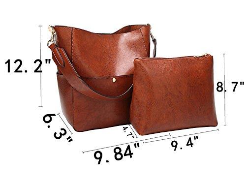 Molodo Womens Satchel Hobo Stylish Top Handle Tote PU Leather Handbag Shoulder Purse by Molodo (Image #2)