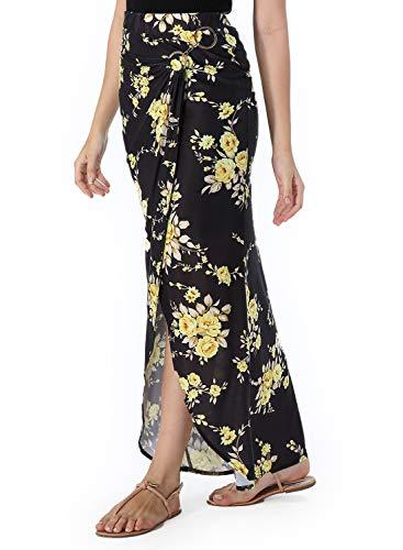 VFSHOW Womens Summer Boho Black Yellow Floral Print Ruched High Waist Casual Beach Party Faux Wrap Maxi Skirt 3099 BLK ()