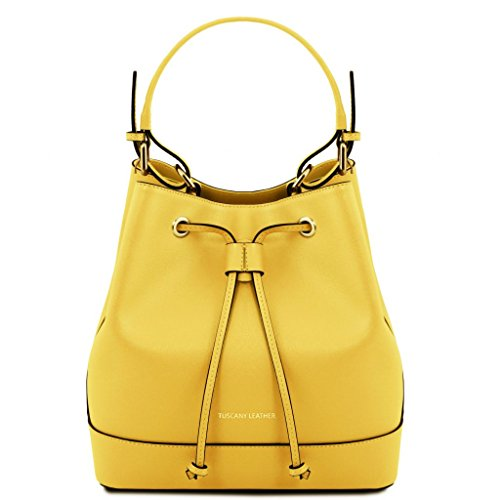 Tuscany Leather Minerva Saffiano leather secchiello bag Yellow by Tuscany Leather