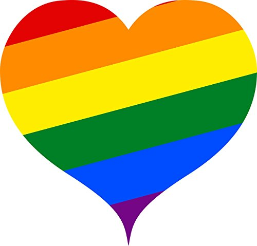 4 Pack Rainbow Flag Heart Car Decal Bumper Sticker Gay Pride LGBT Gay Lesbian Bisexual Transgender Support (Heart)